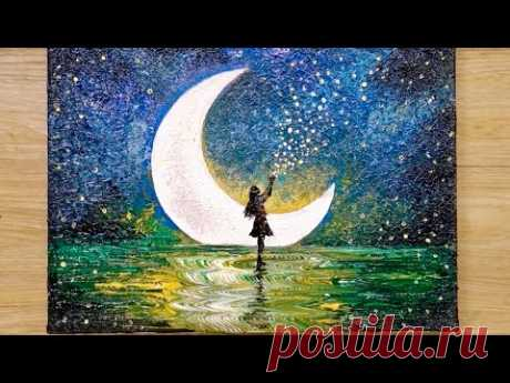 How to draw a moonlight girl with 1 million stars / Acrylic painting technique - YouTube