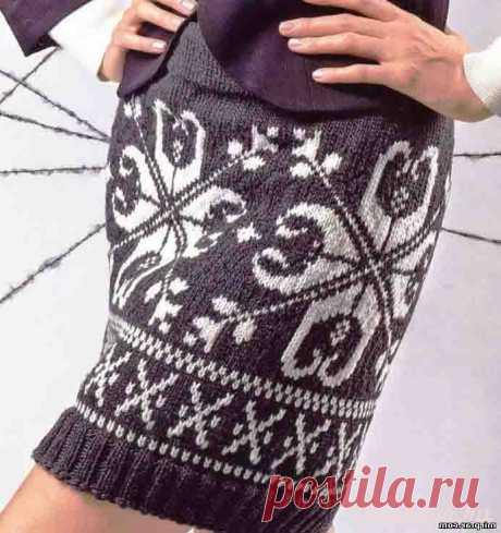 Женская юбка с норвежским узором вязаная спицами. Схема+описание   Блог elisheva.ru