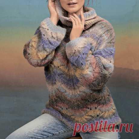 Пуловер с чередованием цветов
