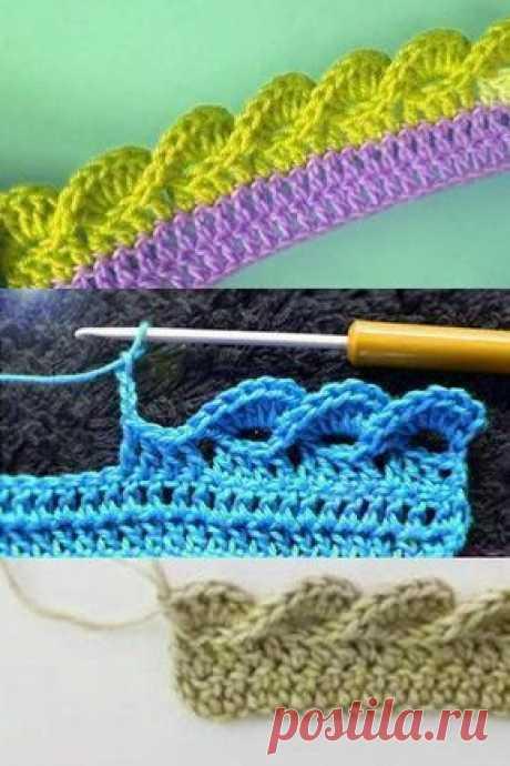 """Вязание - модели и схемы: Декоративная каемка крючком """"Волны"""""""
