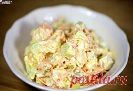 САЛАТ С МОРКОВЬЮ ПО-КОРЕЙСКИ  Вкуснейший рецепт салата с нежными кусочками курицы, свежими огурцами, вареными яйцами, сыром и ароматной морковью по-корейски.  Ингредиенты 450 гр. курица (филе) 450 гр. морковь (по-корейски) 3 шт. куриное яйцо 3-4 шт. огурец (свежие) 60 гр. сыр (твердый) по вкусу майонез по вкусу соль  1. Куриное филе отвариваем в соленой воде 20 минут, остужаем. Яйца отвариваем и очищаем.Сыр натираем. 2. Нарезаем подготовленную вареную курицу на кубики и вы...
