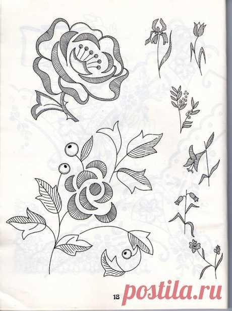 Вышивка ришелье (схемы, рисунки).