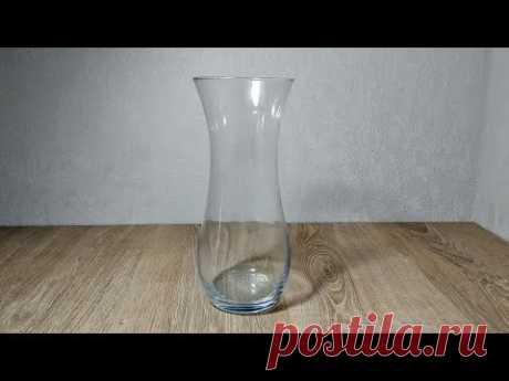Из обычной стеклянной вазы сделали настоящую красоту. Декор своими руками