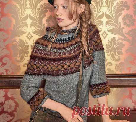 Пуловер с круглой жаккардовой кокеткой . Обсуждение на LiveInternet - Дневник Ниноччка  Здесь все сочетается: шляпка,косичка-растрепка и замечательный выбор цветов