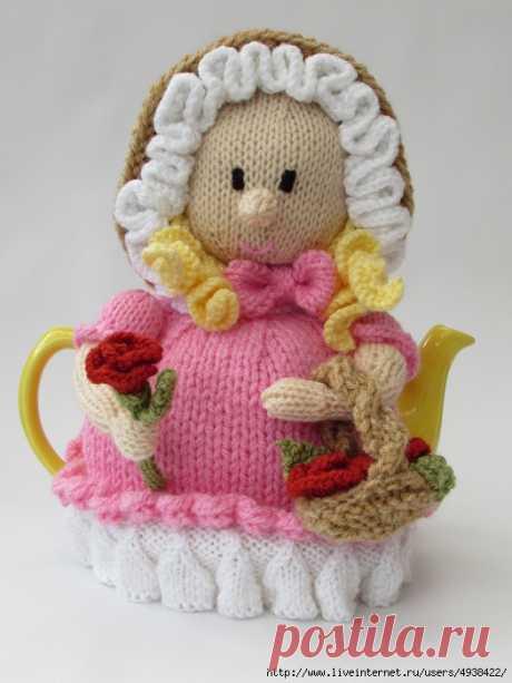 Вязаная грелка на чайник «Flower Girl» - Victorian Flower Girl Tea Cosy.