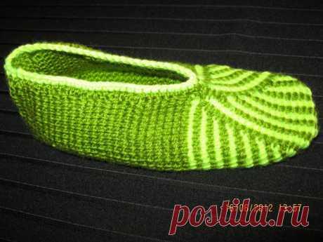 Как связать тунисским крючком (тунисское вязание) носки, тапочки, следки?
