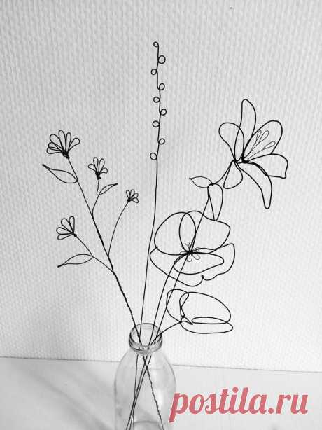 Bouquet of 4 flowers recuit yarn flower to hang floral wall   Etsy