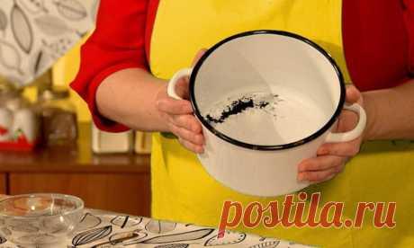 Эмалированная посуда чаще других пригорает. Как я без повреждения эмали очищаю от нагара буквально за 1 минуту | О вкусах... | Яндекс Дзен
