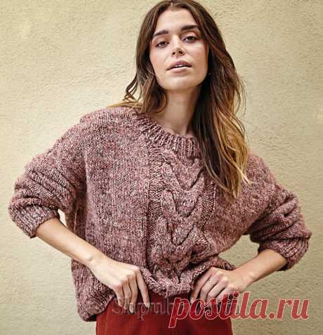 Укороченный пуловер-оверсайз с «Косой» — Shpulya.com - схемы с описанием для вязания спицами и крючком