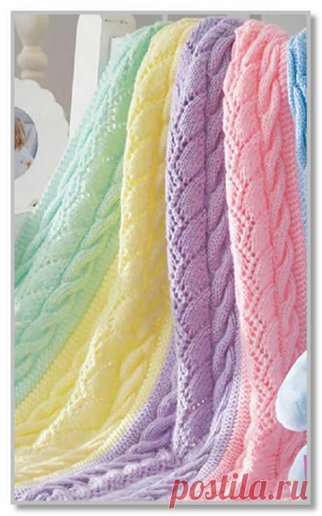Вязание спицами для интерьера. Описание модели со схемой и выкройкой. Плед-радуга из цветных ажурно-рельефных полос. Размер 82 x 106 см