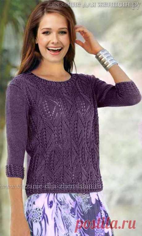 Схема вязания спицами женского пуловера