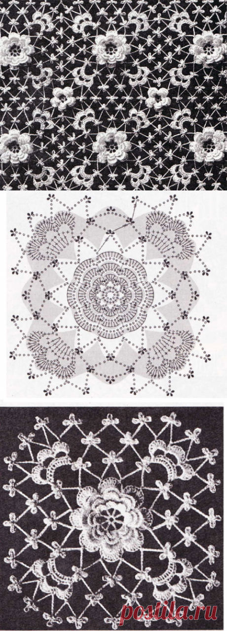 Розетка, окруженная сеткой в виде квадрата - вязание крючком на kru4ok.ru