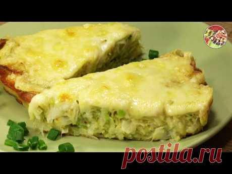 Капустная запеканка с яйцом, луком, сыром. Быстрый простой рецепт.