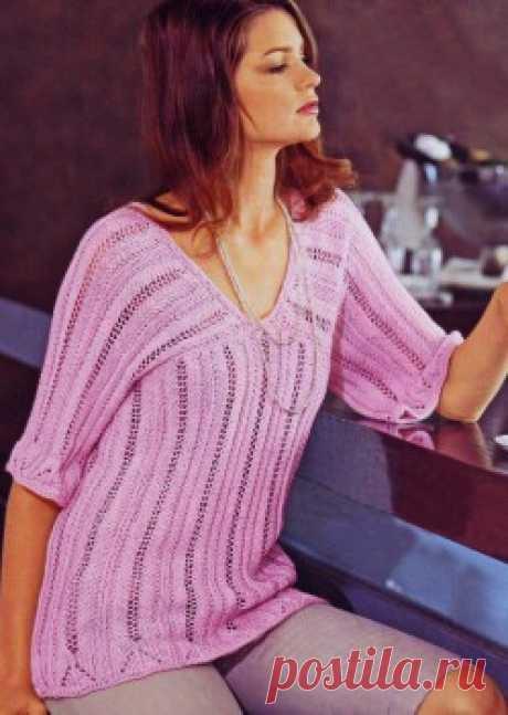 Пуловер с поперечной верхней частью