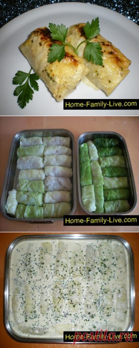 Голубцы в сметанном соусе - пошаговый рецепт с фотоКулинарные рецепты