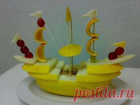 Карвинг - корабль из дыни, фото / Карвинг из овощей и фруктов - фото, видео для начинающих / КлуКлу. Рукоделие - бисероплетение, квиллинг, вышивка крестом, вязание