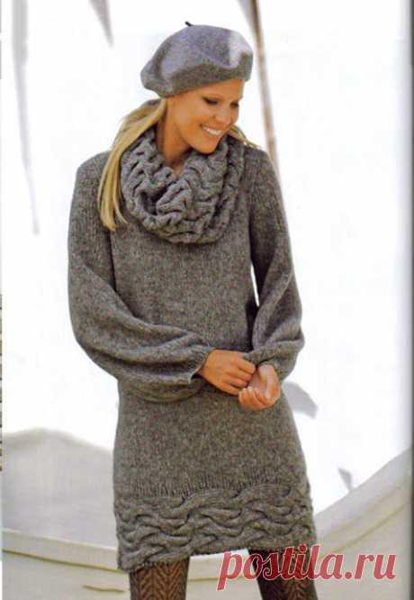Женские теплые платья с высоким воротником спицами – 6 схем вязания с описанием