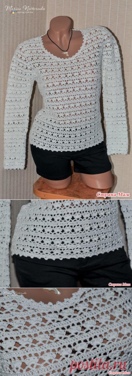 Ажурный хлопковый пуловер крючком - Все в ажуре... (вязание крючком) - Страна Мам