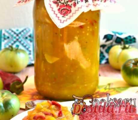 Острый соус из зеленых помидоров и яблок на зиму (в мультиварке) фото рецепт приготовления