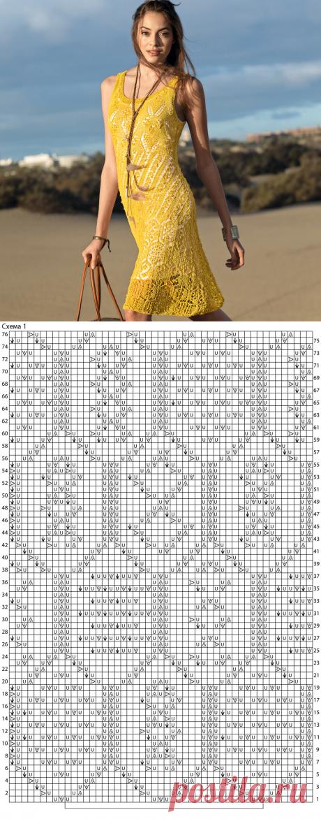 Ажурное платье горчичного цвета — Делаем Руками