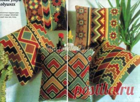 Вышивка крестом диванных подушек. Мастер-класс с пошаговыми фото