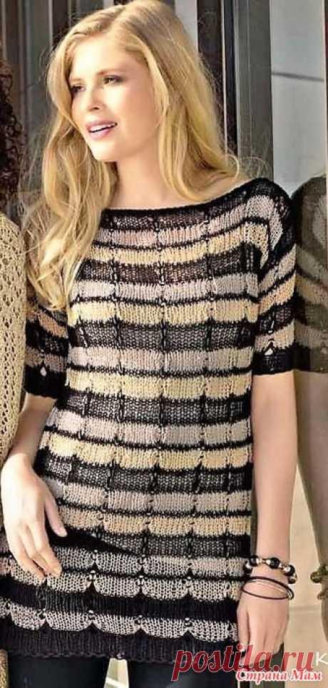 Разноцветный пуловер из разных видов пряжи. Спицы. Индивидуальность начинает - и выигрывает. Пуловер в полоску с необычным узором из снятых петель вы не купите ни в одном магазине.  Размеры: 38/40 (44) 48/50