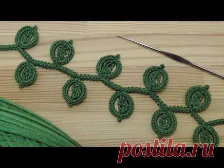 "Урок вязания ЛЕНТОЧНОГО КРУЖЕВА с листиками на основе шнура ""гусеничка"" - Crochet Simple Lace"