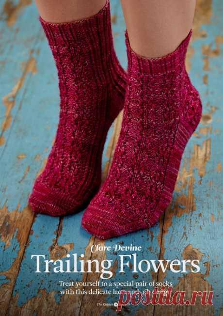 Ажурные носки спицами Trailing Flowers.