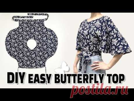DIY Simple Wrap Top / Butterfly shirt / Crop top Tutorial / For Bigginer