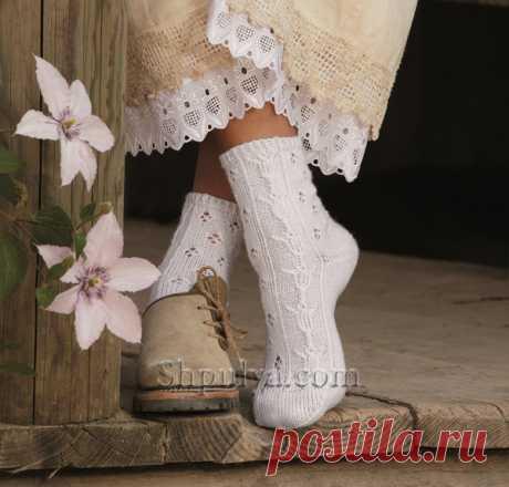 Белые носки с ажурным узором с тюльпанами - SHPULYA.com