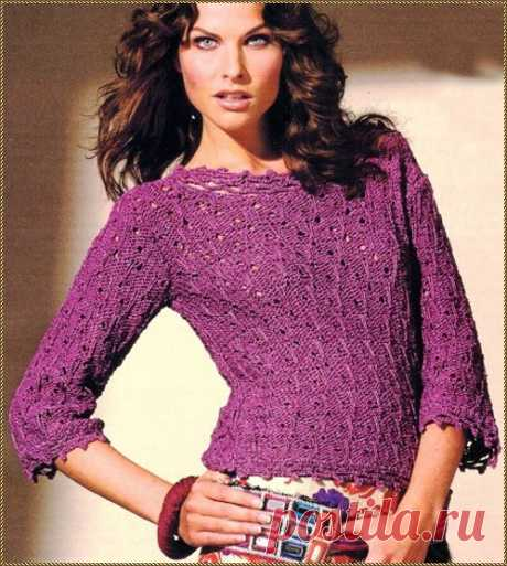 Пуловер с ажурной окантовкой фиолетового цвета — HandMade