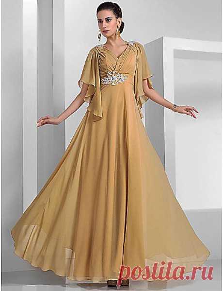 -линии V-образным вырезом длиной до пола, шифона вечернее платье (466566) - RUB p. 4 254,06