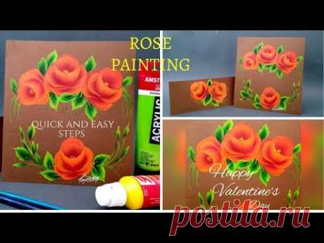 Valentines Day painting 2 | Roses \ud83c\udf39 painting | One stroke | Acrylic painting