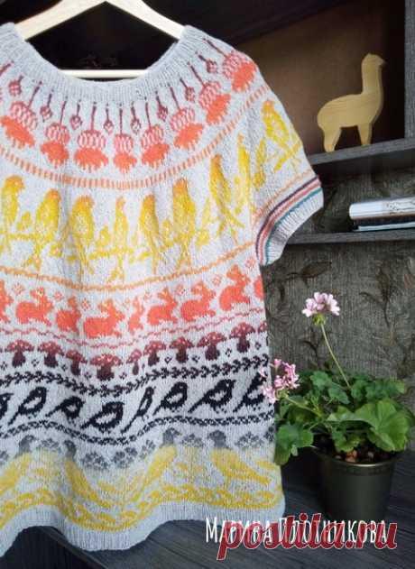 Обалденный джемпер с птичками Схемы #лопапейса. Автор красоты : Марина Плотникова