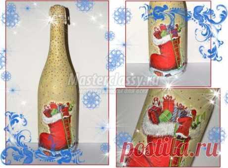 Новогодний декупаж бутылки шампанского. Мастер класс с фото