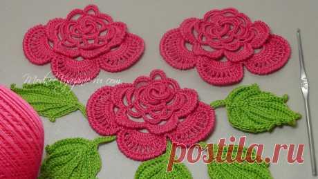 La labor de punto de la rosa en burdone - Crochet Modnoe Vyazanie
