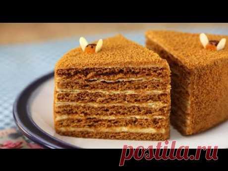 La torta (medovik) de miel la Receta medovika Antigua. Como preparar la torta de miel.