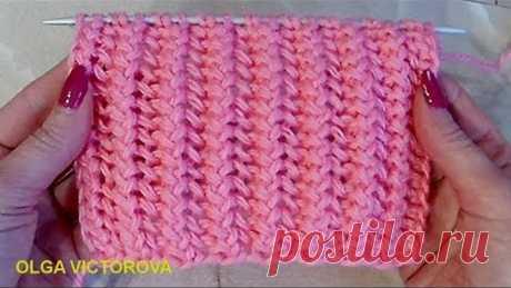Двухсторонний ажурный узор-резиночка Вязание спицами 339