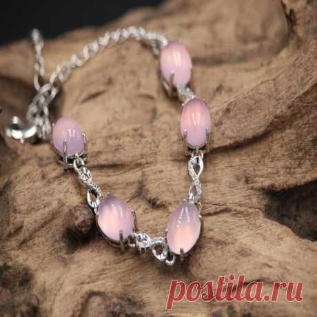 Pink Chalcedony Bracelet / 925 Sterling Silver Trim / Chalcedony Jewelry / Chalcedony Bracelet / 925 Silver Jewelry Chalcedony is a mineral, also known as stone marrow. Chalcedony is actually a kind of quartz, which is a cryptocrystal of SiO2 and a variant of quartz (cryptocrystalline). It is produced in the form of milky or stalactites, usually in the form of kidneys, stalactites, grapes, etc.,