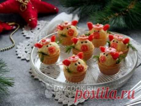 Новогодние тарталетки «Свинки» с сырной закуской — рецепт с фото Тарталетки с сырной начинкой в форме свинок - оригинальная, вкусная и простая в исполнении холодная закуска на Новый год Свиньи 2019.