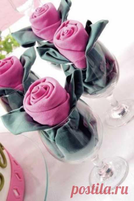 Сервировка стола: розы из салфеток — Сделай сам, идеи для творчества - DIY Ideas
