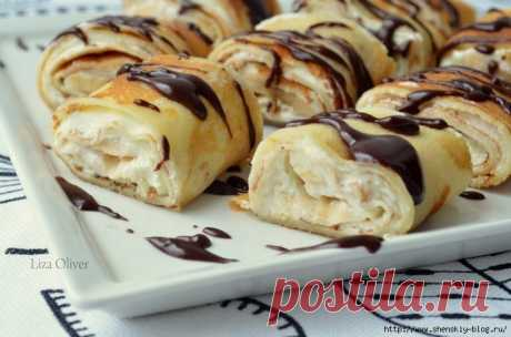 Rolls from pancakes with cottage cheese and banana cream — are more tasty you did not try!