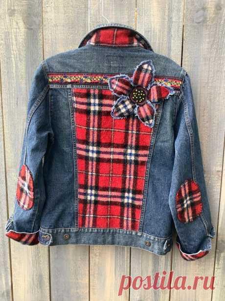 Украшенная джинсовая джинсовая куртка 100% шерсть войлочный плед | Etsy