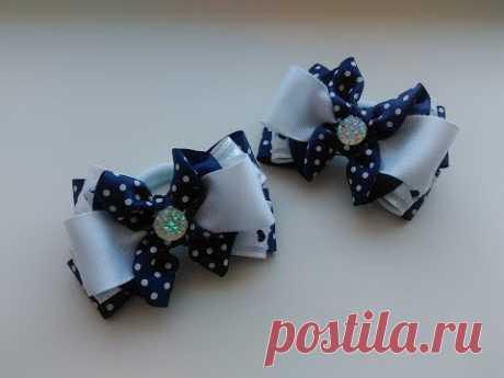 Повседневные школьные бантики из лент МК Канзаши / Casual school ribbon bows