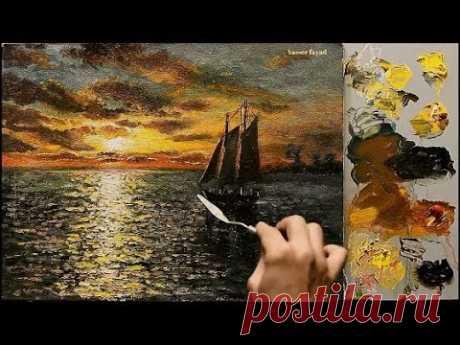 Sunset Seascape Oil Painting By Yasser Fayad https://www.yasserfayadart.com/ https://www.facebook.com/Yasser-Fayad-Gallery-681843628580005/ https://www.facebo...