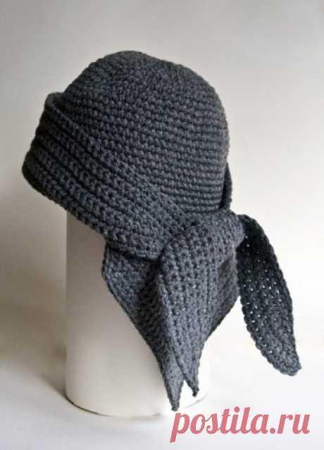 Зимняя шапочка-бандана для девочки крючком - описание, схемы+фото