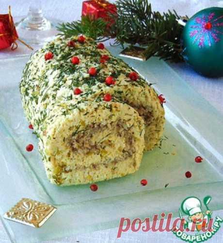 Мясной рождественский рулет без выпечки - кулинарный рецепт