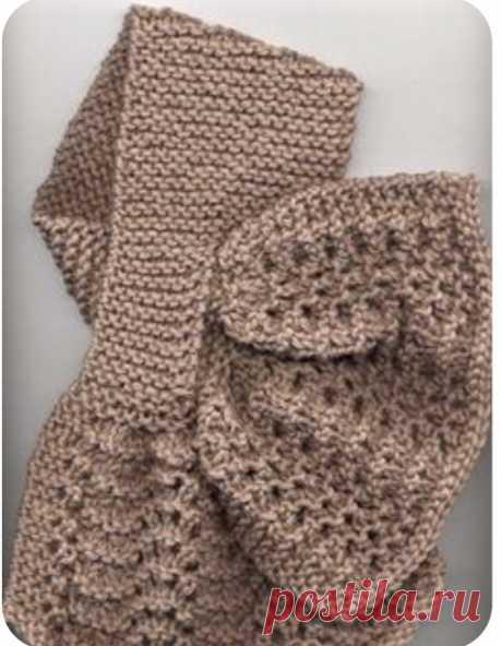 Чудесный небольшой шарфик. Связанно спицами