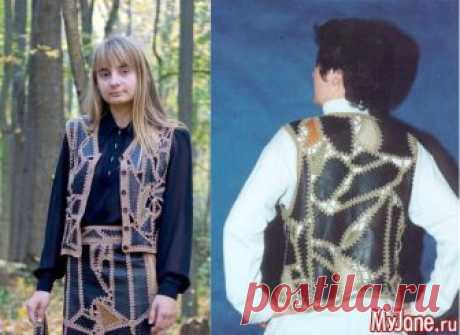 Mosaic vest from pieces of thin skin - needlework, a pattern, scrappy sewing, a hook