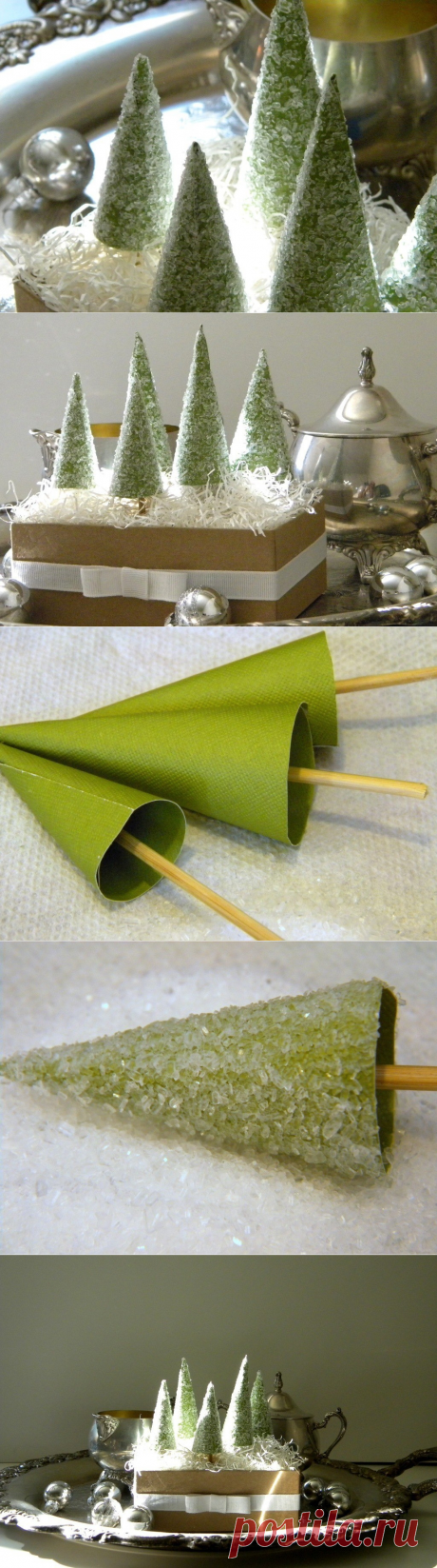 Gift decor fir-trees: we cover with glue a cone and we salt